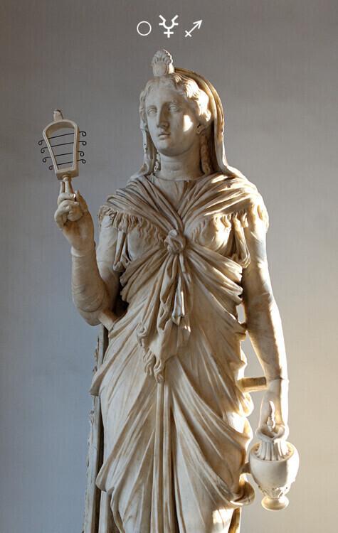 Lunar Eclipse in Sagittarius: Statue of Isis-Sophia holding a sistrum